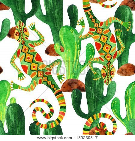 Watercolor seamless pattern with cactuses and lizards. Ornated lizards in ethnic style. Hand painted illustration
