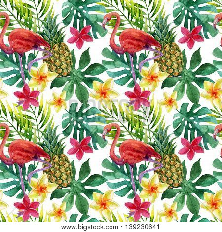 Tropical watercolor pineapple flamingo exotic flowers and leaves. Colorful exotic bird fruit flower. Pineapple and flowers seamless pattern for summer design. Hand painted watercolor illustration