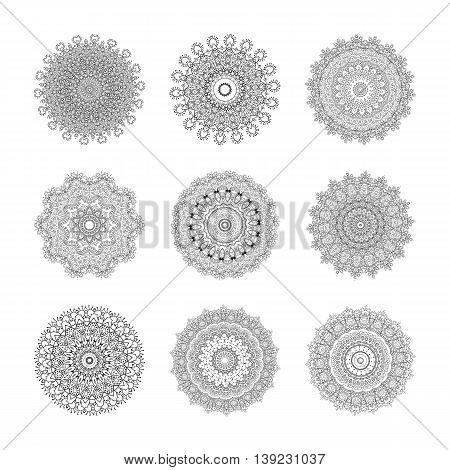 Set of mandalas. Vector vintage hand-drawn highly detailed round mandala elements. Luxury lace festive ornament card. Islam Arabic Indian Turkish Ottoman Pakistan motifs