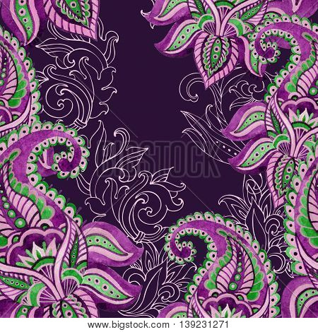 Paisley seamless pattern. Watercolor indian ornament with hand painted paisley elements. Ethnic seamless pattern.
