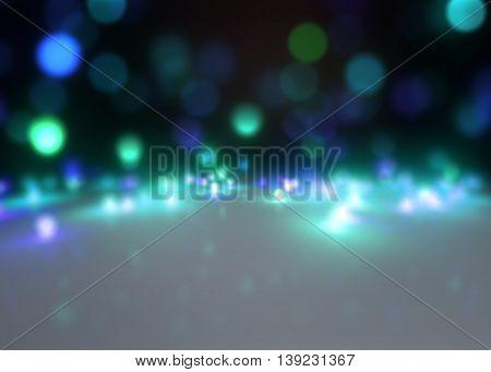 3d rendering of glitter sparkles rays lights bokeh background.