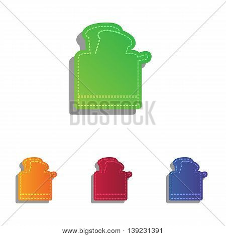 Toaster simple sign. Colorfull applique icons set.