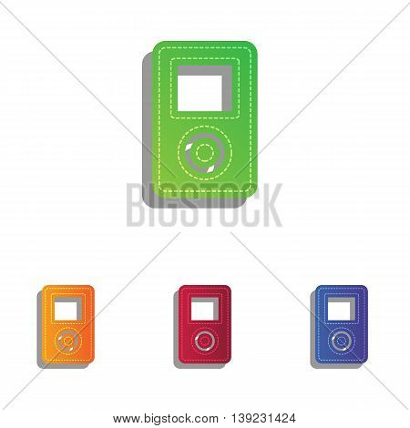 Portable music device. Colorfull applique icons set.