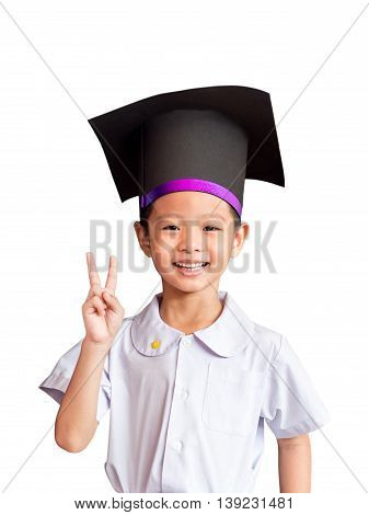 Asian boy with an academic gown hat white background