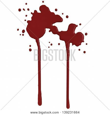 Red blood splash isolated in white background - 3D render