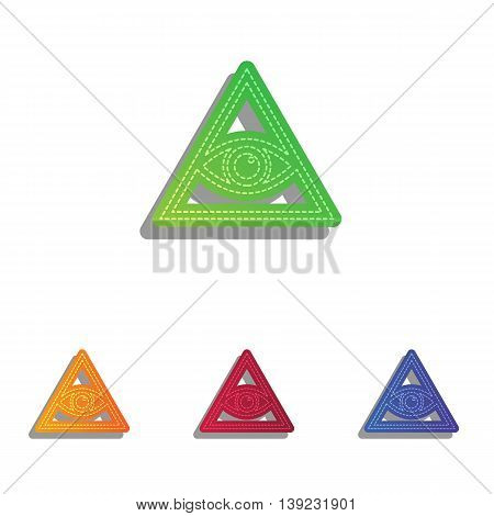 All seeing eye pyramid symbol. Freemason and spiritual. Colorfull applique icons set.