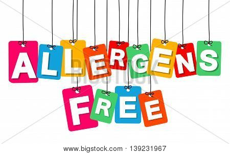 Vector colorful hanging cardboard. Tags - allergens free on white background