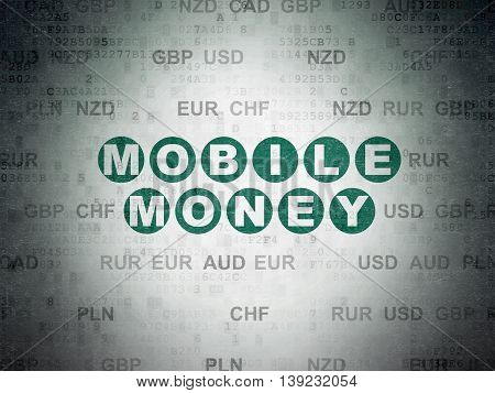 Banking concept: Painted green text Mobile Money on Digital Data Paper background with Currency
