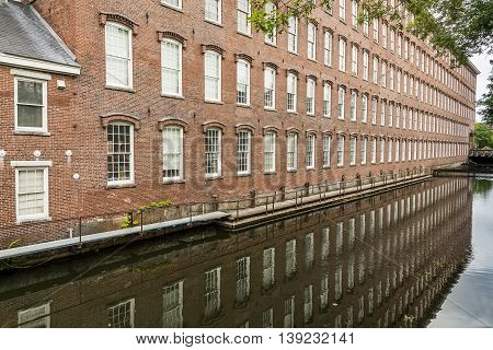 Boott Cotton Mills brick exterior in Lowell, MA, USA