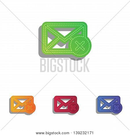 Mail sign illustration with cacel mark. Colorfull applique icons set.