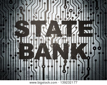 Money concept: circuit board with  word State Bank, 3D rendering
