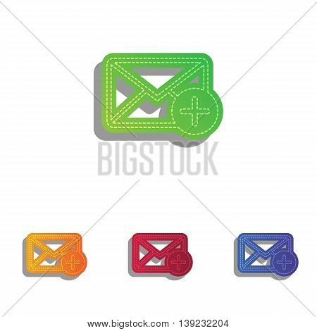 Mail sign illustration with add mark. Colorfull applique icons set.