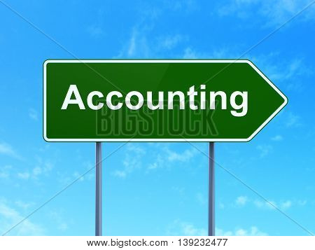 Banking concept: Accounting on green road highway sign, clear blue sky background, 3D rendering