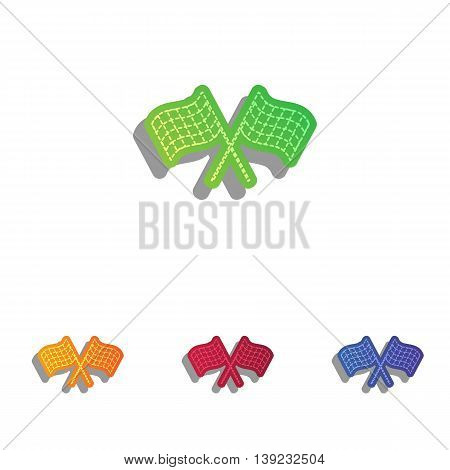Crossed checkered flags logo waving in the wind conceptual of motor sport. Colorfull applique icons set.