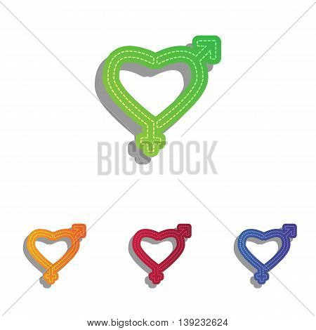 Gender signs in heart shape. Colorfull applique icons set.