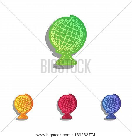 Earth Globe sign. Colorfull applique icons set.