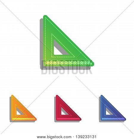 Ruler sign illustration. Colorfull applique icons set.