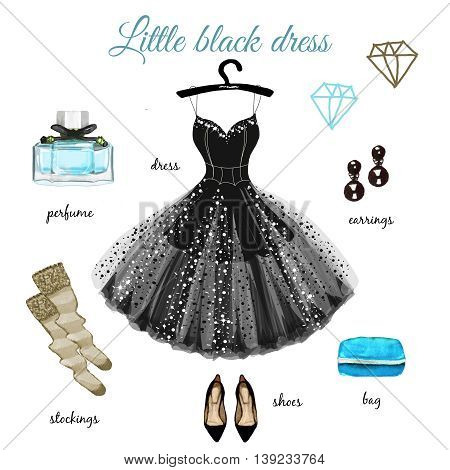 Little black dress with blue accessories hand drawn illustration isolated on white background