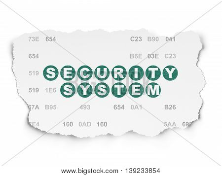 Protection concept: Painted green text Security System on Torn Paper background with  Hexadecimal Code