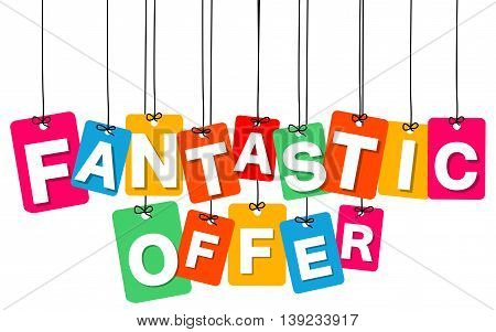 Vector colorful hanging cardboard. Tags - fantastic offer on white background