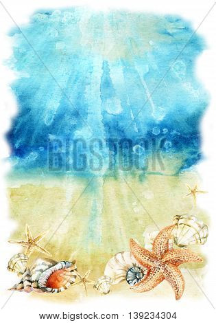 Watercolor sea bottom illustration with sea shells and starfishes. Seabed with waves and foam. Hand painted background