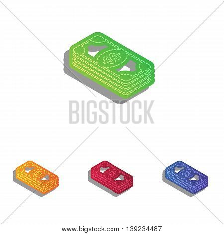Bank Note dollar sign. Colorfull applique icons set.