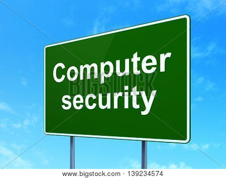 Privacy concept: Computer Security on green road highway sign, clear blue sky background, 3D rendering