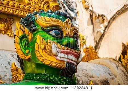 The Sculpture Green. Shwedagon Paya Pagoda. Yangon, Myanmar
