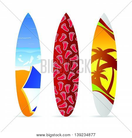 Surfboard With Beach Item On It Set Illustration