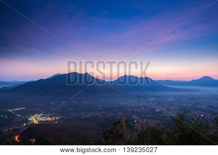 Sunrise cloud and mist on the topmost, Phu Tok mountain, Chiang Khan, Loei Unseen in Thailand - sunrise in the sea of mist at dawn (horizontal)