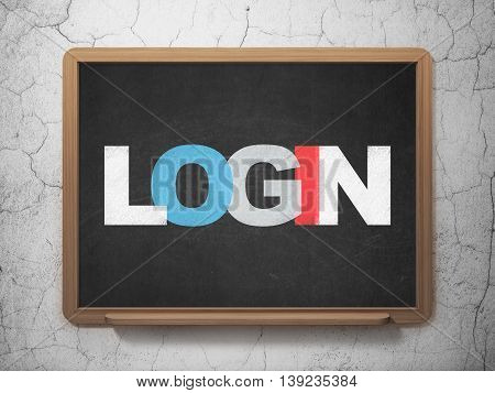 Security concept: Painted multicolor text Login on School board background, 3D Rendering