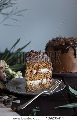 A piece of layered chocolate cake with candied white cherries and chocolate ganache