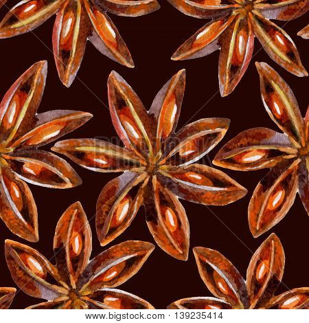 Watercolor star anise seamless pattern on dark background hand painted illustration