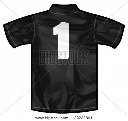 Number 1 one Black sport shirt as a soccer, hockey, basket, rugby, baseball, volley or football team t-shirt. For the goalkeeper or the referee or New Zeland team