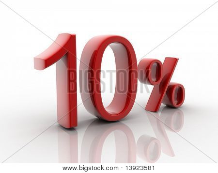 Digital illustration of Percentage sign in 3d on white background