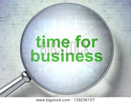 Business concept: magnifying optical glass with words Time for Business on digital background, 3D rendering