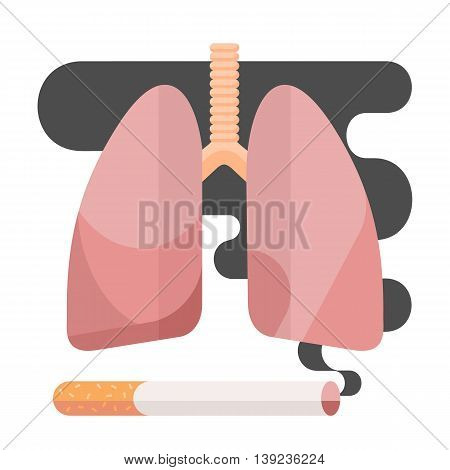Icons about smoking. illustration flat, dangers of smoking. health problems due to smoking, human lungs.