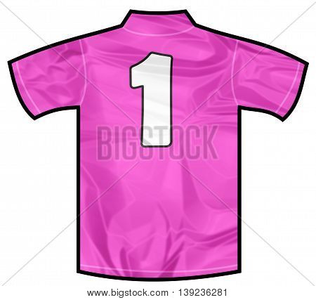 Number 1 one pink sport shirt as a soccer, hockey, basket, rugby, baseball, volley or football team t-shirt. For the goalkeeper or woman player