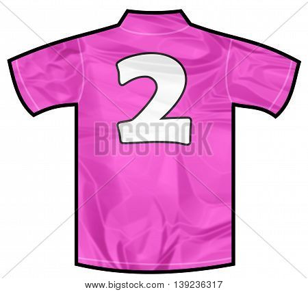 Number 2 two pink sport shirt as a soccer, hockey, basket, rugby, baseball, volley or football team t-shirt. For the goalkeeper or woman player