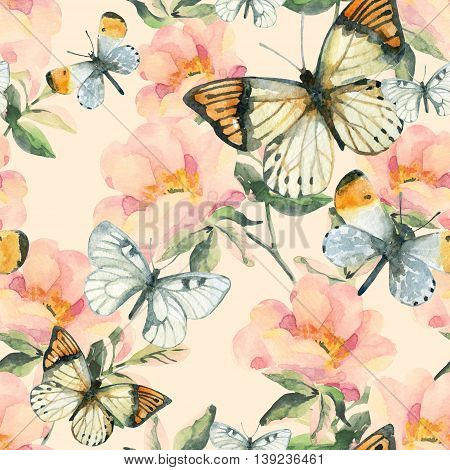 Watercolor briar flowers and butterfly seamless pattern. Dog Rose branches on pastel background. Hand painted illustration vintage inspired with paper texture