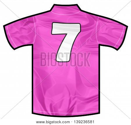 Number 7 seven pink sport shirt as a soccer, hockey, basket, rugby, baseball, volley or football team t-shirt. For the goalkeeper or woman player