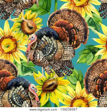 Turkey bird with sunflowers illustration. Watercolor turkey seamless pattern on the blue background