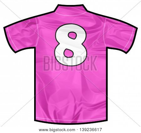 Number 8 eight pink sport shirt as a soccer, hockey, basket, rugby, baseball, volley or football team t-shirt. For the goalkeeper or woman player