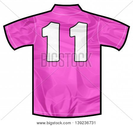 Number 11 eleven pink sport shirt as a soccer, hockey, basket, rugby, baseball, volley or football team t-shirt. For the goalkeeper or woman player