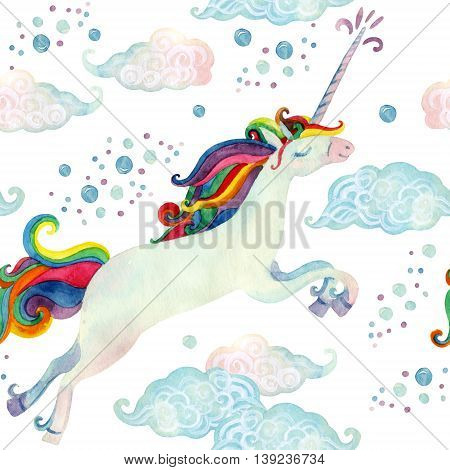 Watercolor fairy tale collection with flying unicorn magic clouds and rain on white background. Hand painted fairy tale elements for kids children design