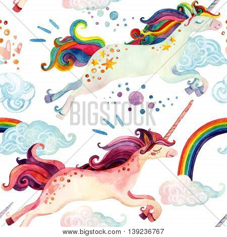 Watercolor little unicorn seamless pattern. Watercolor fairy tale with flying unicorn rainbow magic clouds and rain on white background. Hand painted fairy tale elements for kids children design
