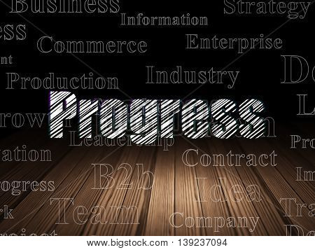 Business concept: Glowing text Progress in grunge dark room with Wooden Floor, black background with  Tag Cloud