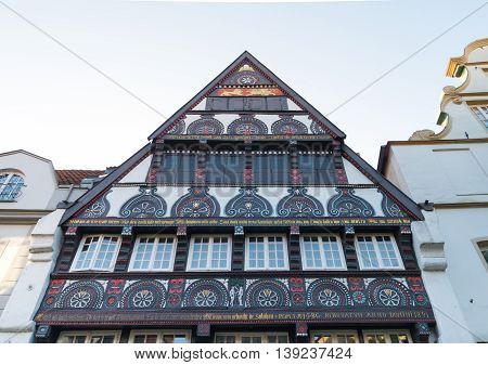 facade of a half timbered house in osnabrueck germany