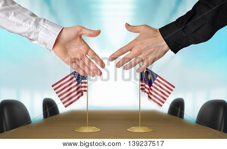 United States and Malaysia diplomats shaking hands to agree deal, part 3D rendering