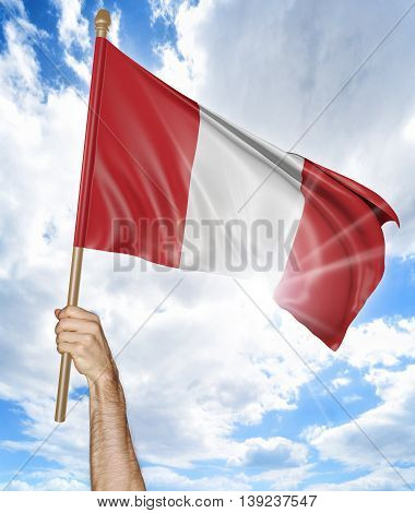 Person's hand holding the Peruvian national flag and waving it in the sky, 3D rendering